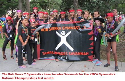 PHOTO CAPTION: The Bob Sierra Y Gymnastics team invades Savannah for the YMCA Gymnastics National Championships last month.